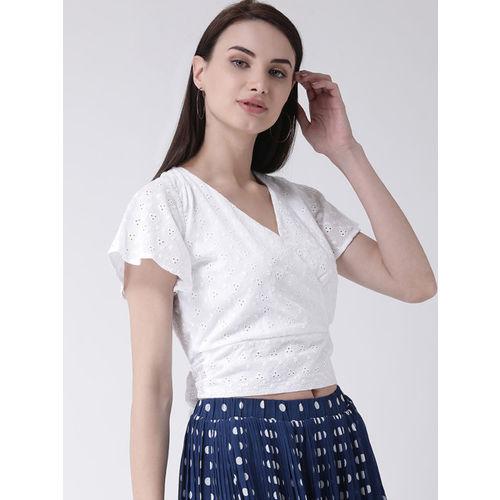Leo Sansini Women White Self Design Wrap Top