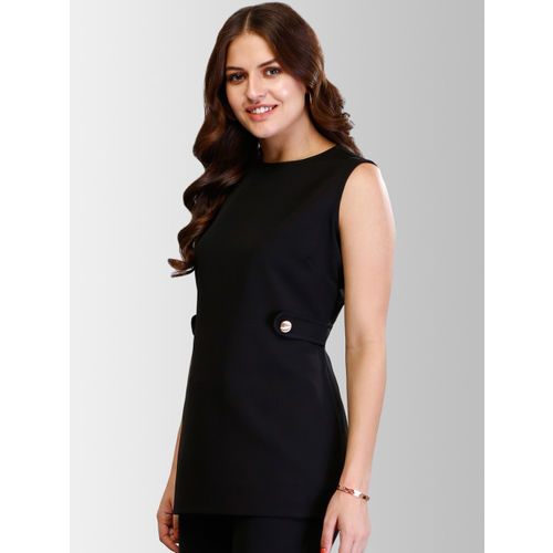 FableStreet Women Black Solid Top