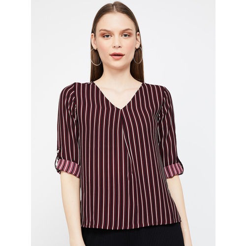 Bossini Women Burgundy & White Striped Top