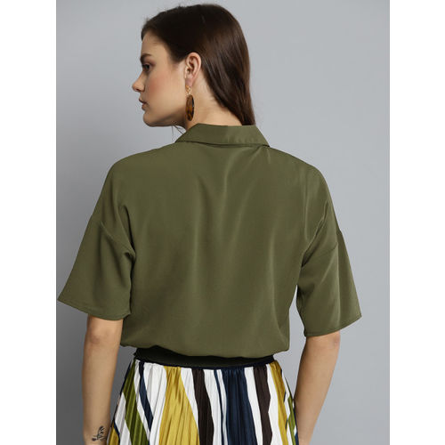 Carlton London Women Olive Green Solid Shirt Style Top