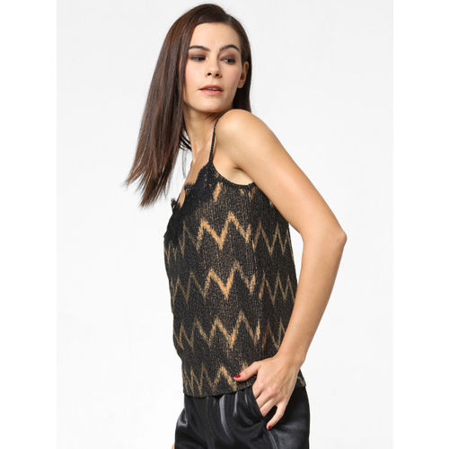 ONLY Women Black & Gold Printed Top