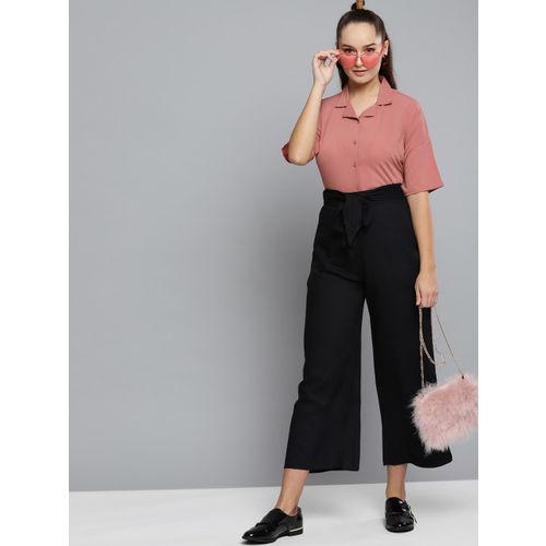 Carlton London Women Dusty Pink Solid Blouson Top