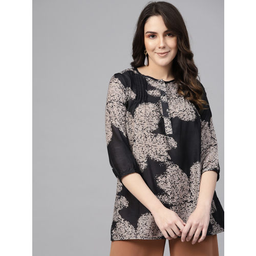 I AM FOR YOU Women Charcoal Grey & Taupe Printed Regular Top