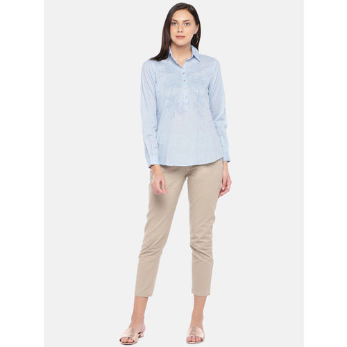 Cottonworld Women Blue Embroidered Shirt Style Top