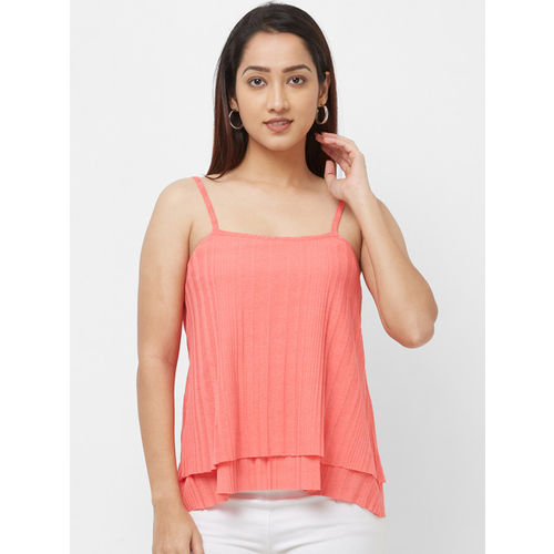 Imagica Women Coral Solid A-Line Layered Top