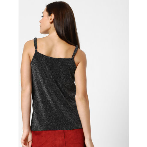 ONLY Women Black & Silver Self Design Shimmer Top