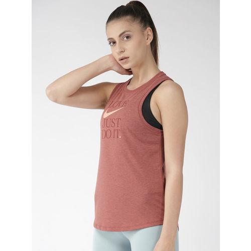 Nike Women Rust Red AS DB Dry Printed Yoga Tank Top