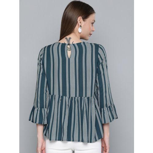 Chemistry Women Teal Blue & White Striped Regular Top
