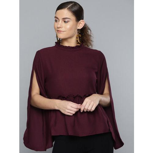 RARE Women Burgundy Solid A-Line Top