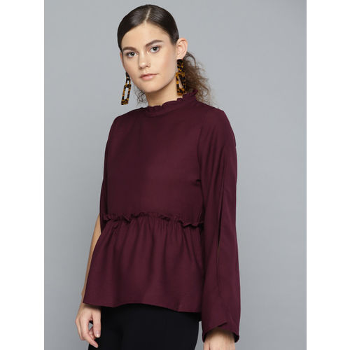 RARE Women Burgundy Solid A-Line Top