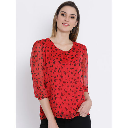 SQew Women Red & Black Printed Top