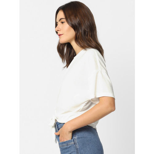 ONLY Women White Solid Crop Top