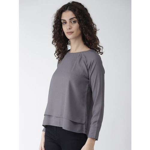 Style Quotient Women Grey Solid Layered High-Low Top