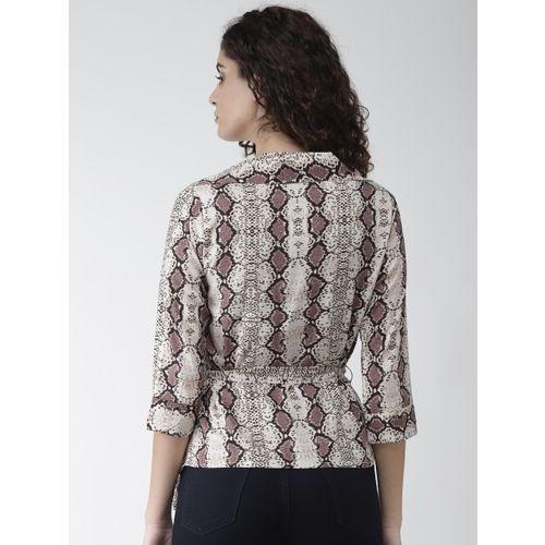 Style Quotient Women Beige & Brown Snakeskin Print Wrap Top