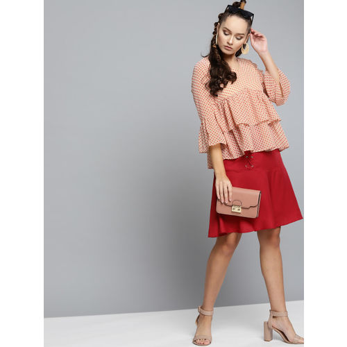Carlton London Women Beige & Red Printed A-Line Layered Top