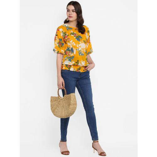 MIAMINX Women Yellow Printed Blouson Top