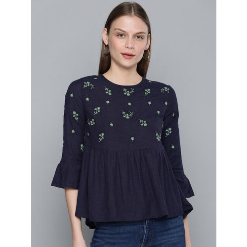 Chemistry Women Navy Blue Embroidered A-Line Top