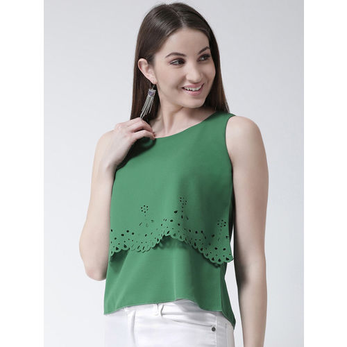 KASSUALLY Women Green Solid Tiered Top