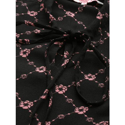 all about you from Deepika Padukone Women Black & Pink Printed Top