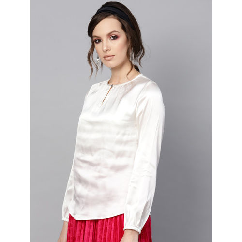 SASSAFRAS Women Off-White Solid Top with Satin Finish