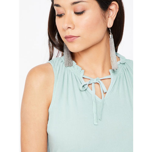 Ginger by Lifestyle Women Green Solid A-Line Top