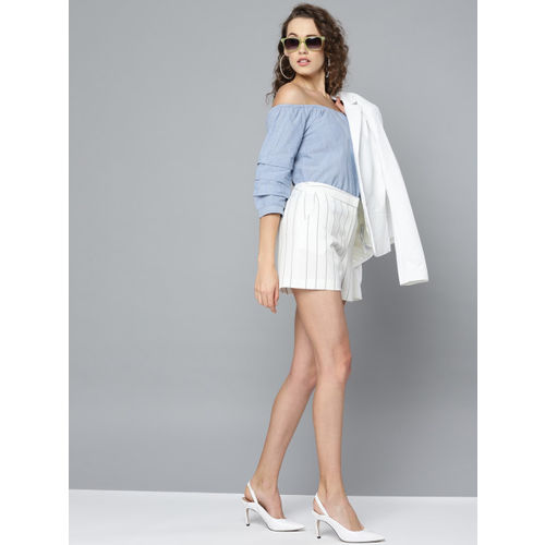 Marie Claire Women Blue & White Striped Bardot Top