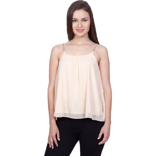 Stylestone Casual Sleeveless Solid Women Beige Top