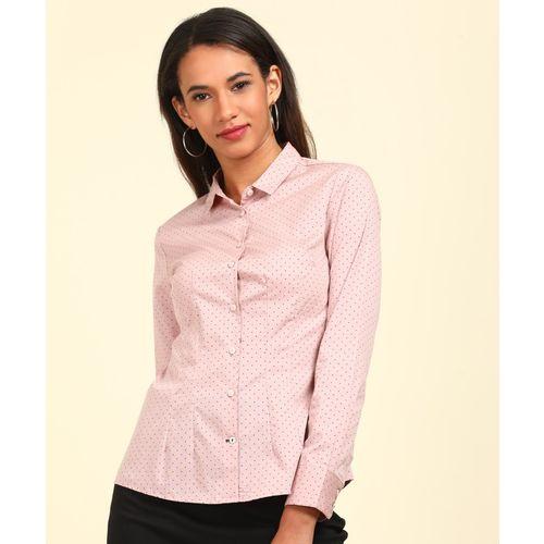 Van Heusen Women Polka Print Casual Pink Shirt