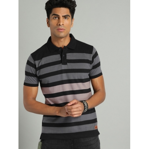Roadster Men Black & Charcoal Grey Striped Polo Collar T-shirt