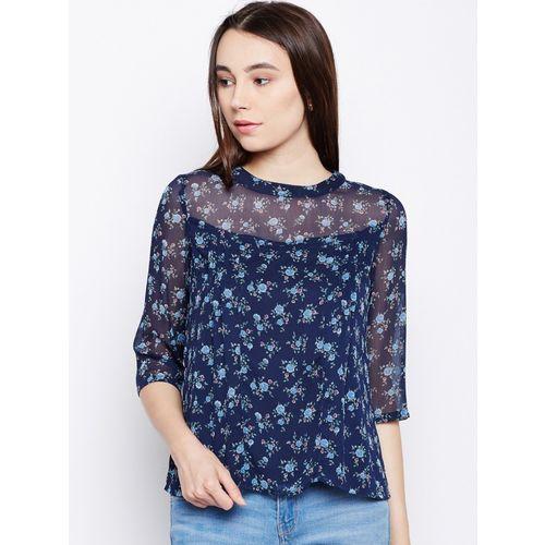 Oxolloxo Casual Regular Sleeve Floral Print Women Blue Top