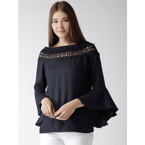 Style Quotient Casual Flute Sleeve Solid Women Blue Top