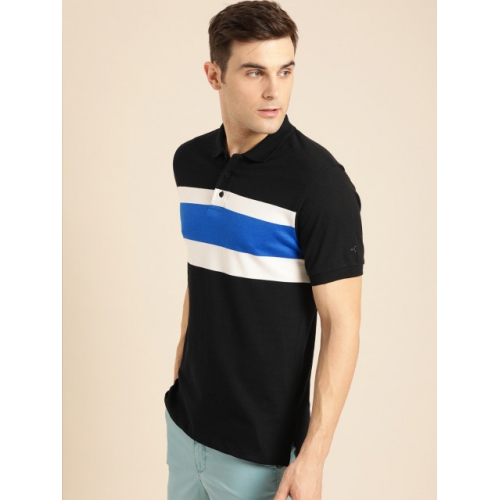 ether Men Black & Blue Striped Polo Collar T-shirt