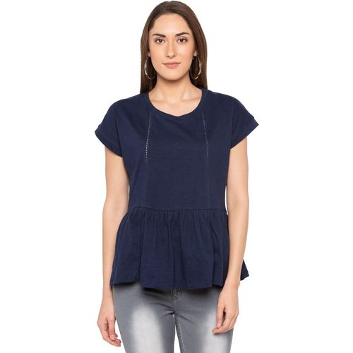 Globus Casual Regular Sleeve Solid Women Blue Top