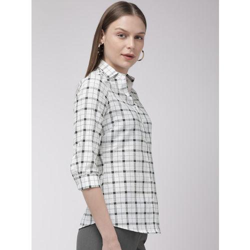 Park Avenue Women Black & White Regular Fit Checked Casual Shirt