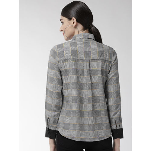 Madame Women Black & Off-White Regular Fit Checked Casual Shirt