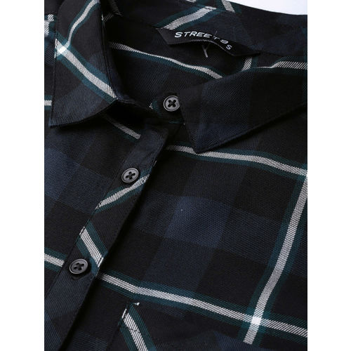 STREET 9 Women Black & Green Checked Casual Shirt