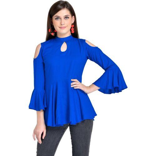 VAANYA Casual Cold Shoulder Solid Women Blue Top