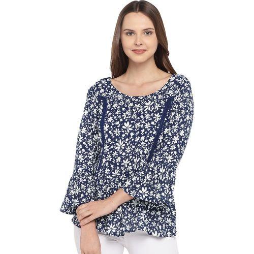 Globus Casual Bell Sleeve Printed Women Blue Top