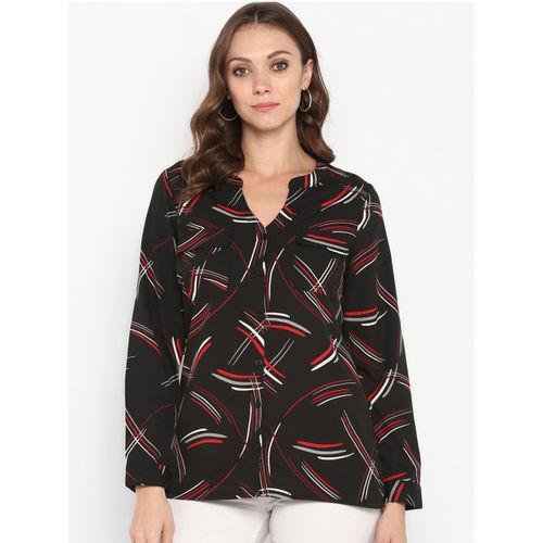 Aditi Wasan Women Black Standard Regular Fit Printed Semiformal Shirt