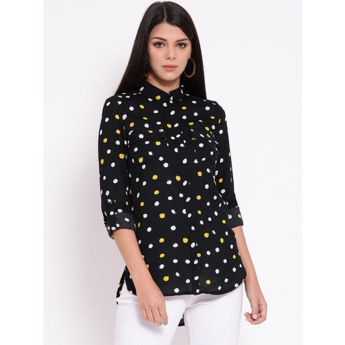 Oxolloxo Women Black & White Regular Fit Printed Casual Shirt