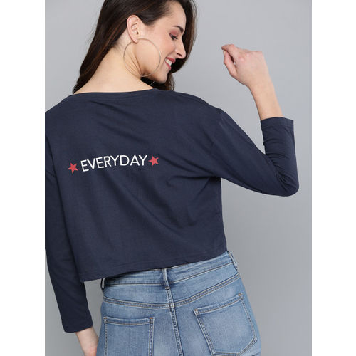 HERE&NOW Women Navy Blue Printed Round Neck Boxy Crop T-shirt
