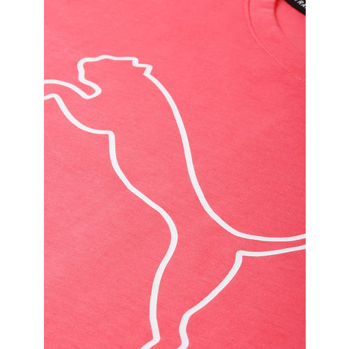 Puma Women Cat Tee Pink Alert Printed Round Neck T-shirt