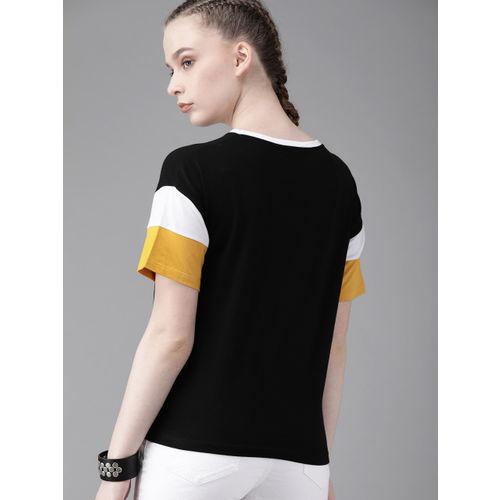 Roadster Women Black Solid Round Neck T-shirt