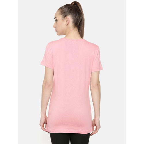 Puma Women Pink & Black Printed Cloud Pack Graphic Longline T-shirt