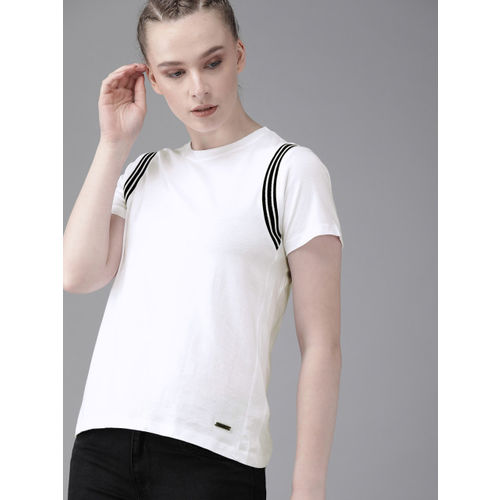 Roadster Women White Solid Round Neck T-shirt