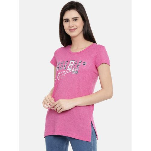 Bitz Women Pink Printed Round Neck T-shirt