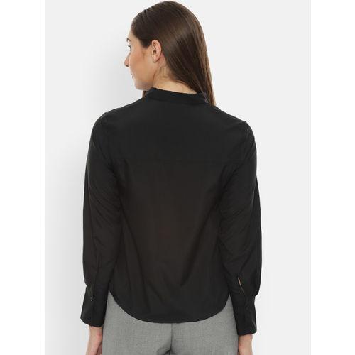 Van Heusen Woman Black Regular Fit Solid Casual Shirt
