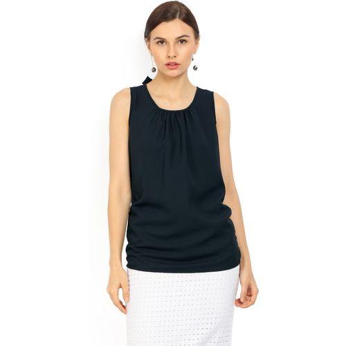 Provogue Party Sleeveless Solid Women Dark Blue Top