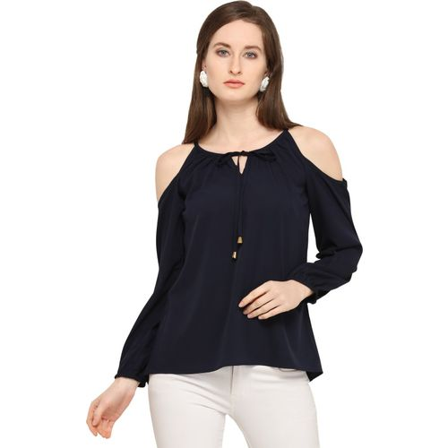 SYASII Casual Cold Shoulder Solid Women Dark Blue Top