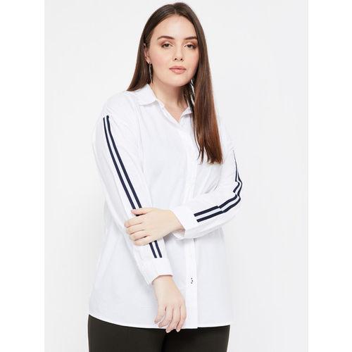 nexus Women White Regular Fit Striped Casual Shirt